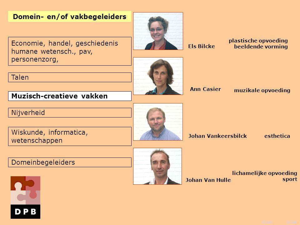 vorige inhoud Els Bilcke Ann Casier Johan Vankeersbilck Johan Van Hulle muzikale opvoeding esthetica Domein- en/of vakbegeleiders plastische opvoeding