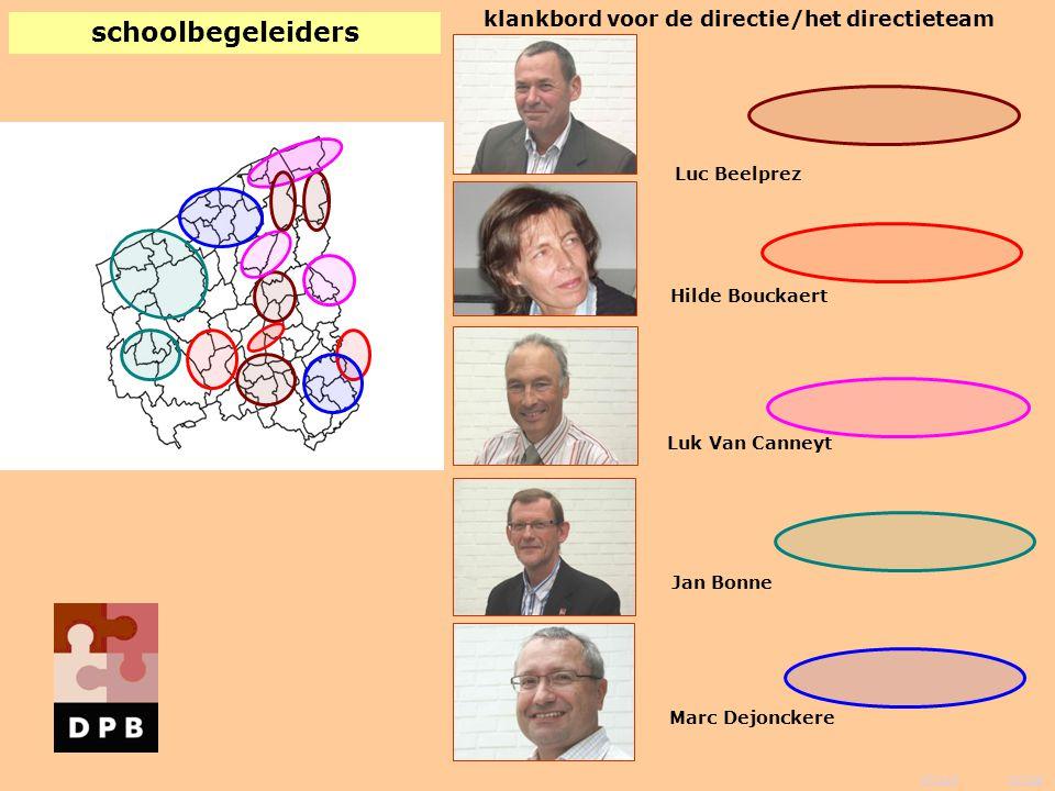 vorige inhoud klankbord voor de directie/het directieteam Hilde Bouckaert Luc Beelprez Jan Bonne Luk Van Canneyt Marc Dejonckere schoolbegeleiders