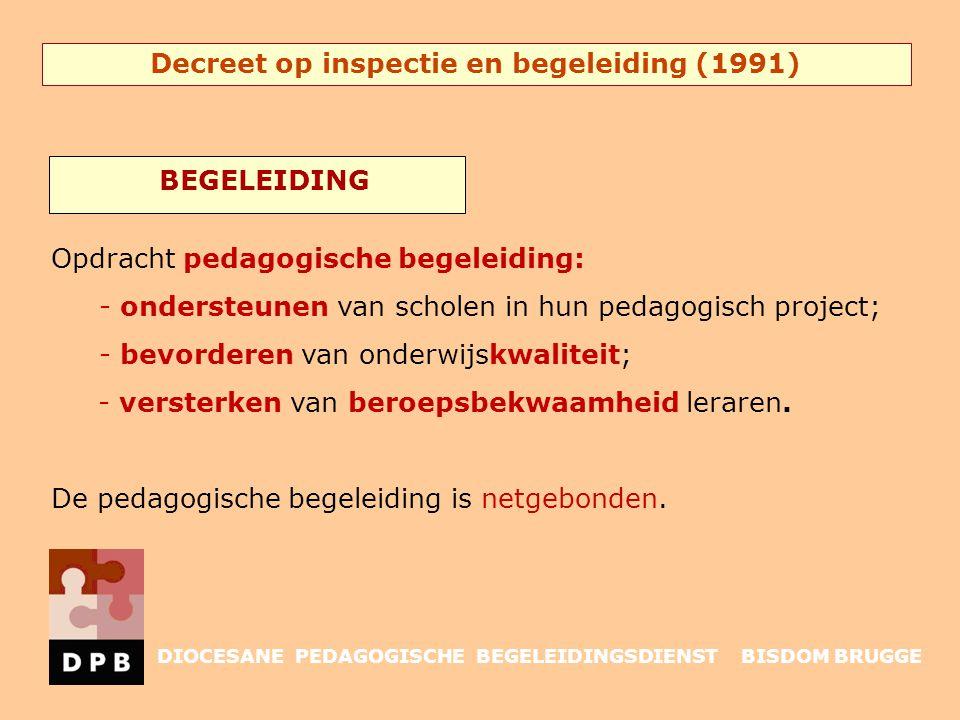Decreet op inspectie en begeleiding (1991) Opdracht pedagogische begeleiding: - ondersteunen van scholen in hun pedagogisch project; - bevorderen van