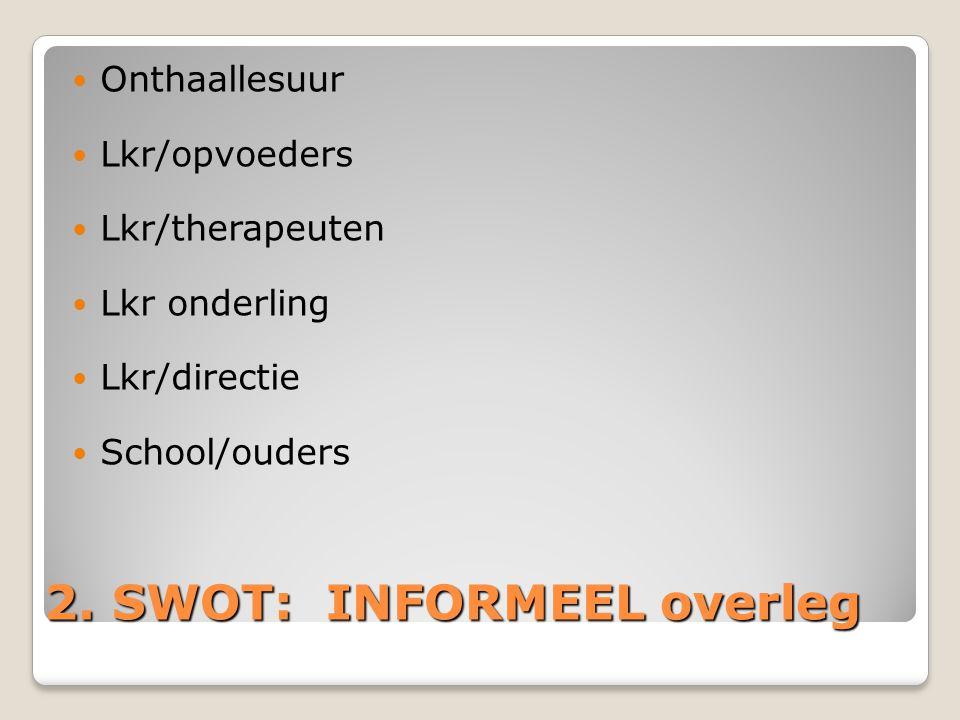 2. SWOT: INFORMEEL overleg Onthaallesuur Lkr/opvoeders Lkr/therapeuten Lkr onderling Lkr/directie School/ouders