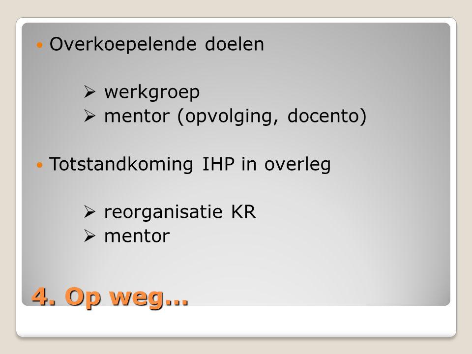 4. Op weg… Overkoepelende doelen  werkgroep  mentor (opvolging, docento) Totstandkoming IHP in overleg  reorganisatie KR  mentor