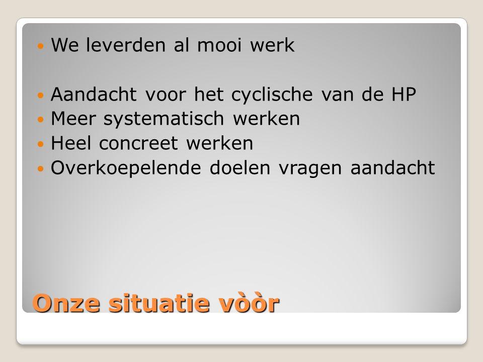 Onze situatie vòòr We leverden al mooi werk Aandacht voor het cyclische van de HP Meer systematisch werken Heel concreet werken Overkoepelende doelen vragen aandacht