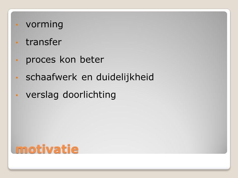 motivatie vorming transfer proces kon beter schaafwerk en duidelijkheid verslag doorlichting