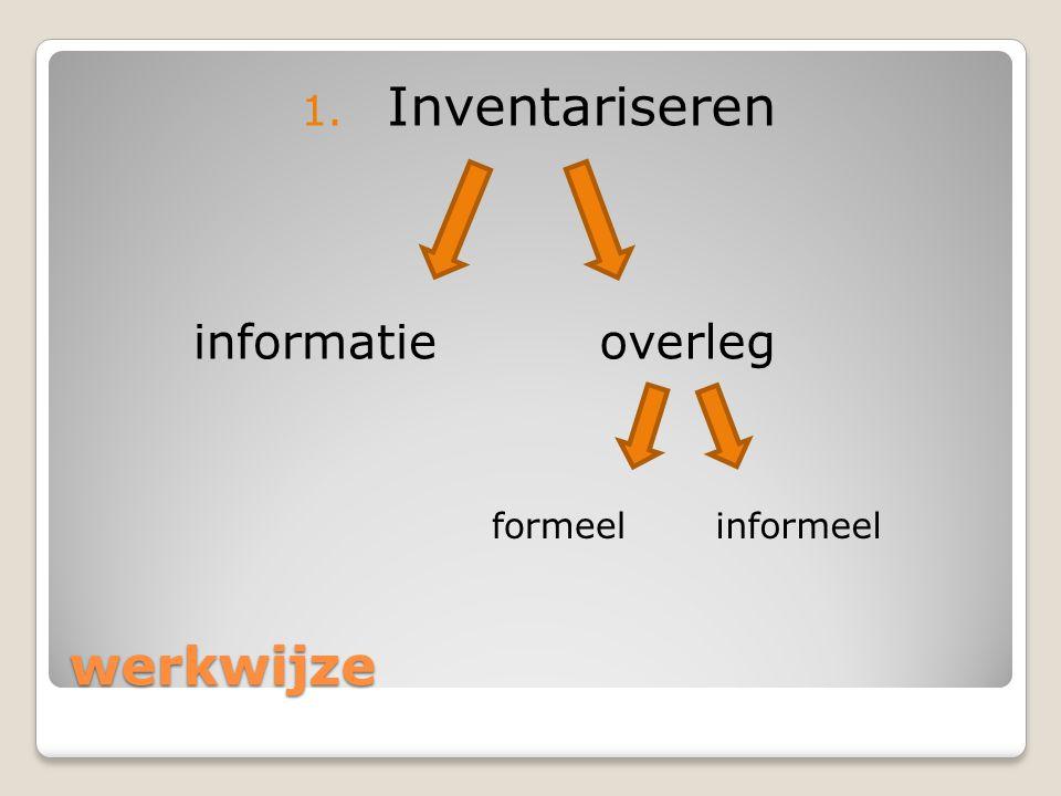 werkwijze 1. Inventariseren informatieoverleg formeelinformeel