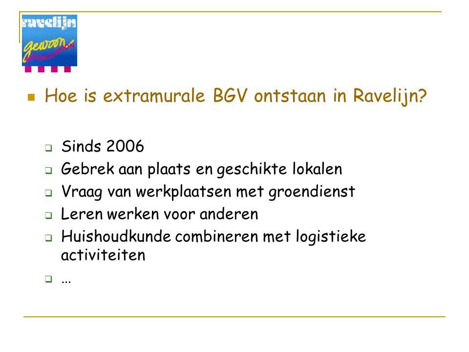 Hoe is extramurale BGV ontstaan in Ravelijn?  Sinds 2006  Gebrek aan plaats en geschikte lokalen  Vraag van werkplaatsen met groendienst  Leren we