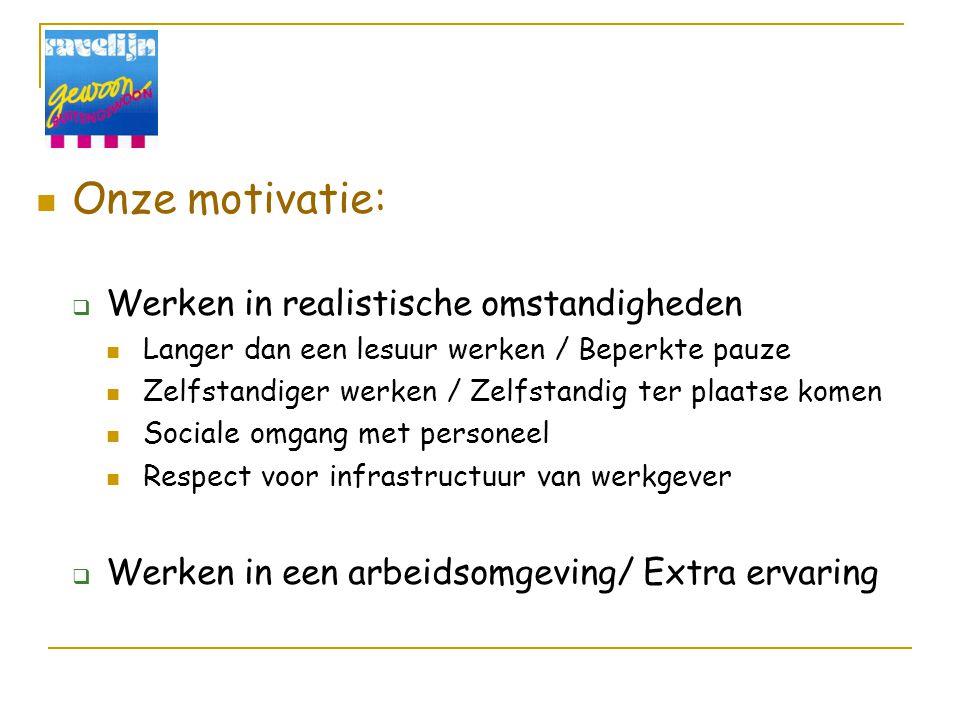 Onze motivatie:  Werken in realistische omstandigheden Langer dan een lesuur werken / Beperkte pauze Zelfstandiger werken / Zelfstandig ter plaatse k