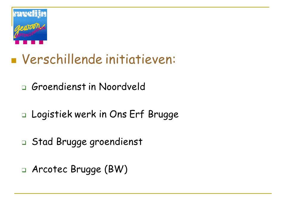 Verschillende initiatieven:  Groendienst in Noordveld  Logistiek werk in Ons Erf Brugge  Stad Brugge groendienst  Arcotec Brugge (BW)