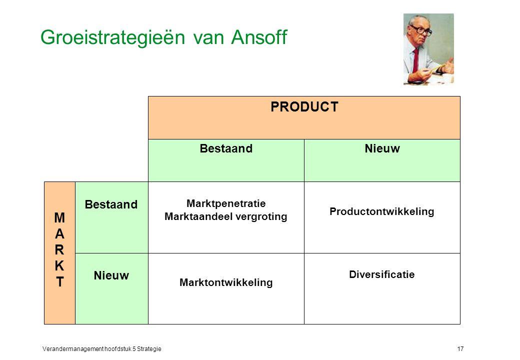 Verandermanagement hoofdstuk 5 Strategie17 Groeistrategieën van Ansoff Productontwikkeling Diversificatie Marktpenetratie Marktaandeel vergroting Marktontwikkeling Bestaand Nieuw Bestaand MARKTMARKT PRODUCT