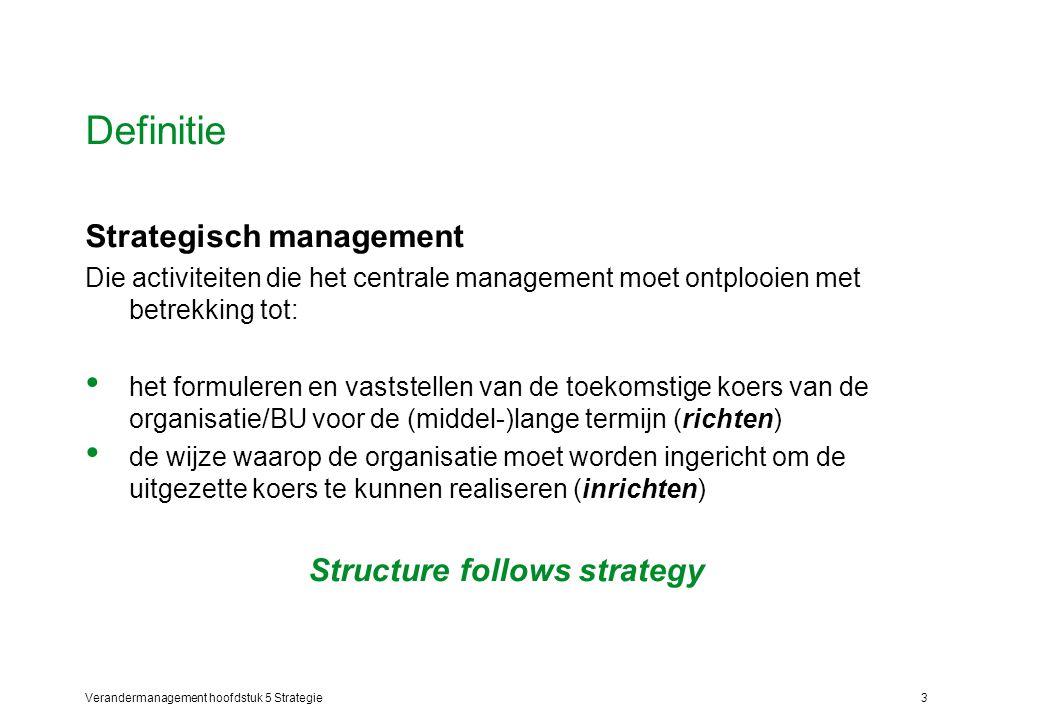 Verandermanagement hoofdstuk 5 Strategie3 Definitie Strategisch management Die activiteiten die het centrale management moet ontplooien met betrekking tot: het formuleren en vaststellen van de toekomstige koers van de organisatie/BU voor de (middel-)lange termijn (richten) de wijze waarop de organisatie moet worden ingericht om de uitgezette koers te kunnen realiseren (inrichten) Structure follows strategy