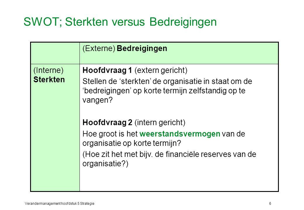 Verandermanagement hoofdstuk 5 Strategie6 SWOT; Sterkten versus Bedreigingen Hoofdvraag 1 (extern gericht) Stellen de 'sterkten' de organisatie in staat om de 'bedreigingen' op korte termijn zelfstandig op te vangen.