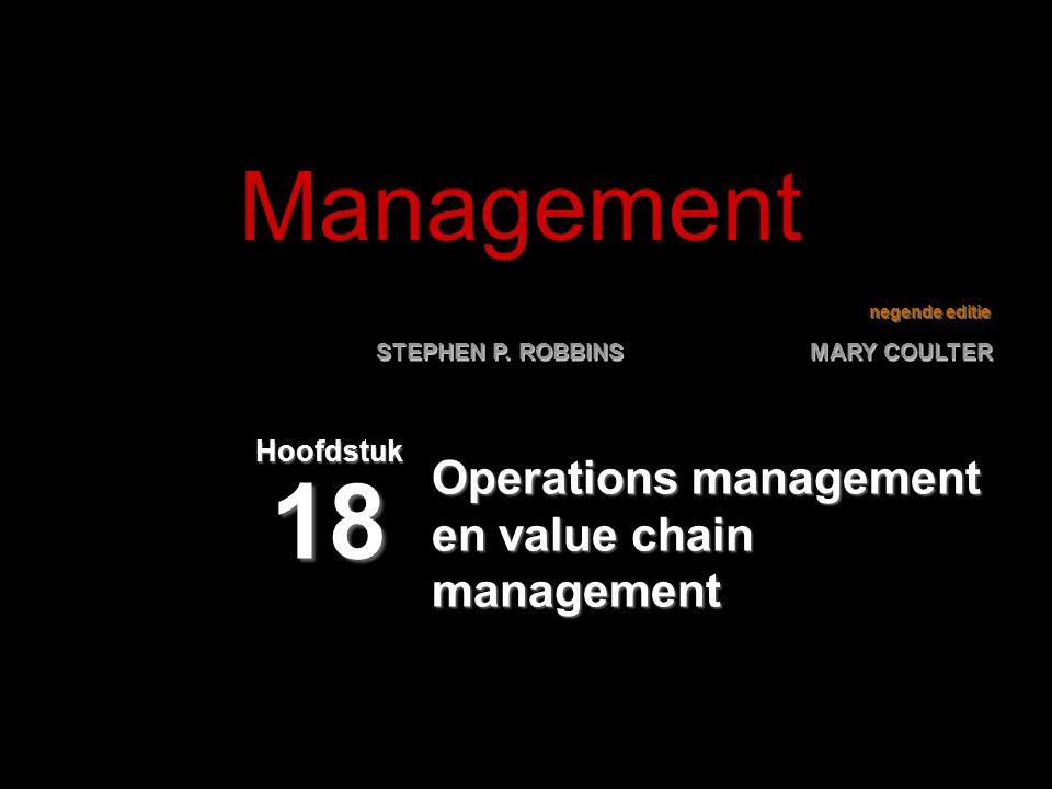 18–22 Actuele vraagstukken over operations management (vervolg) Geïndividualiseerde massaproductieGeïndividualiseerde massaproductie  Vorm van productie die klanten van een product voorziet wanneer, waar en hoe ze het willen.