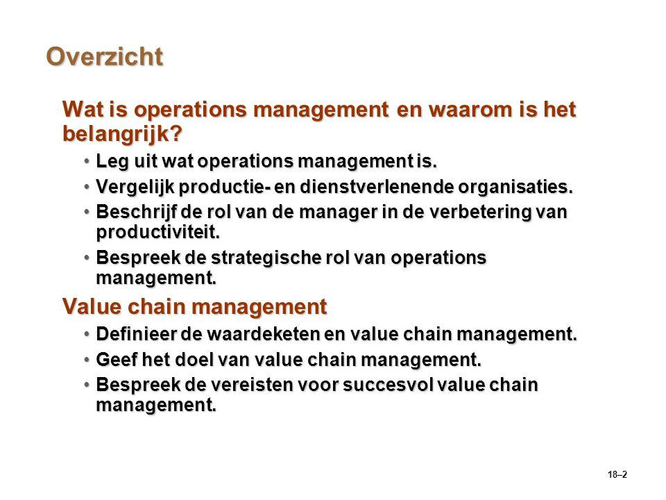 18–13 Value chain management (vervolg) Voorwaarden voor value chain managementVoorwaarden voor value chain management  Een nieuw businessmodel met zes voorwaarden:  Coördinatie en samenwerking  Investeren in technologie  Verandering van organisatorische processen  Sterk en toegewijd leiderschap  Flexibele functies en werknemers  Ondersteunende organisatiecultuur en -instelling
