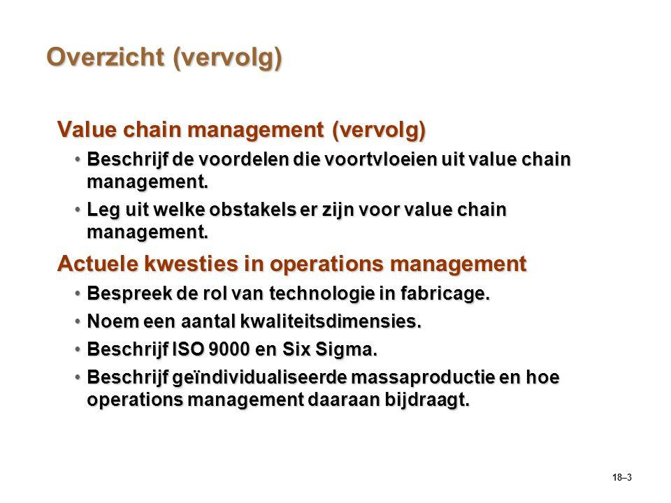 18–14 De voordelen van value chain management verbeterde procurement verbeterde logistiek verbeterd beheer klantorders verbeterde product- ontwikkeling Voordelen van value chain management