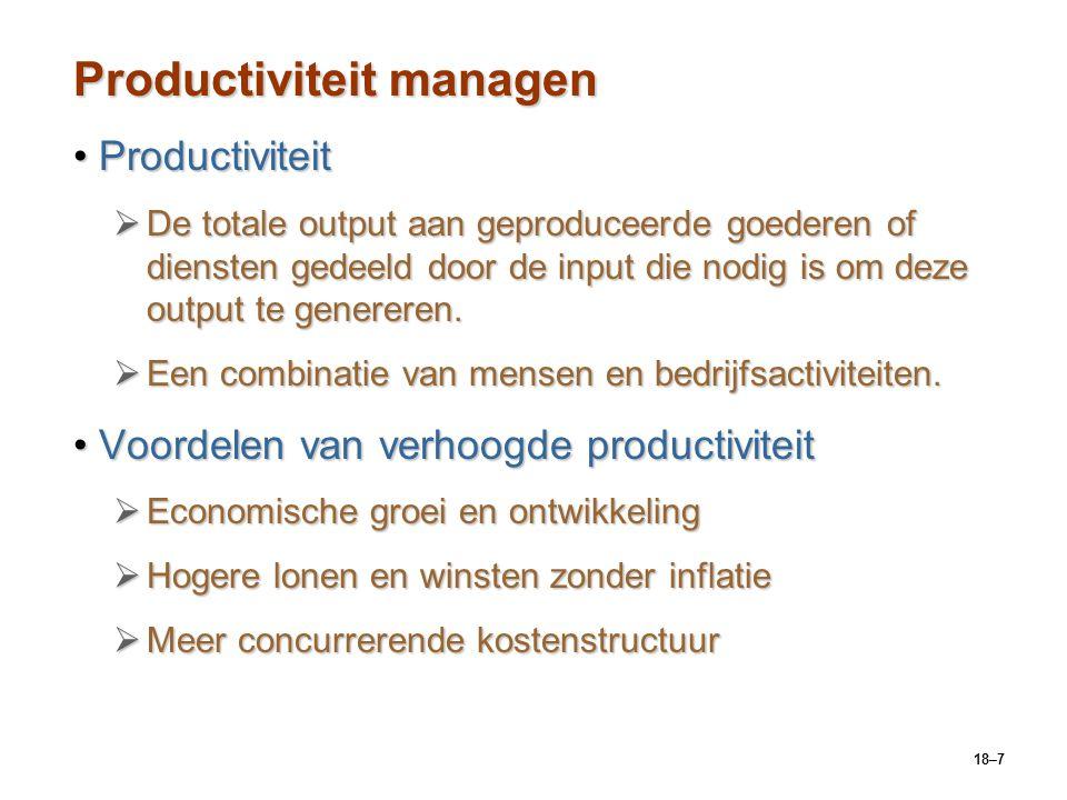 18–18 Actuele vraagstukken over operations management De rol van technologie in e-manufacturingDe rol van technologie in e-manufacturing  Verhoogde automatisering en integratie van productiefaciliteiten in bedrijfssystemen om kosten te beheersen.