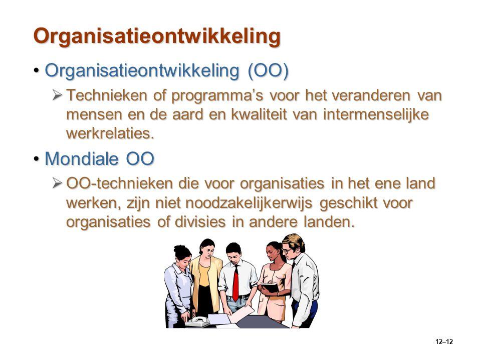 12–12 Organisatieontwikkeling Organisatieontwikkeling (OO)Organisatieontwikkeling (OO)  Technieken of programma's voor het veranderen van mensen en d