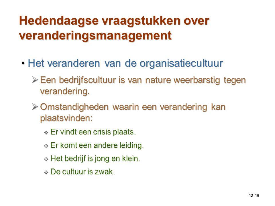 12–16 Hedendaagse vraagstukken over veranderingsmanagement Het veranderen van de organisatiecultuurHet veranderen van de organisatiecultuur  Een bedr