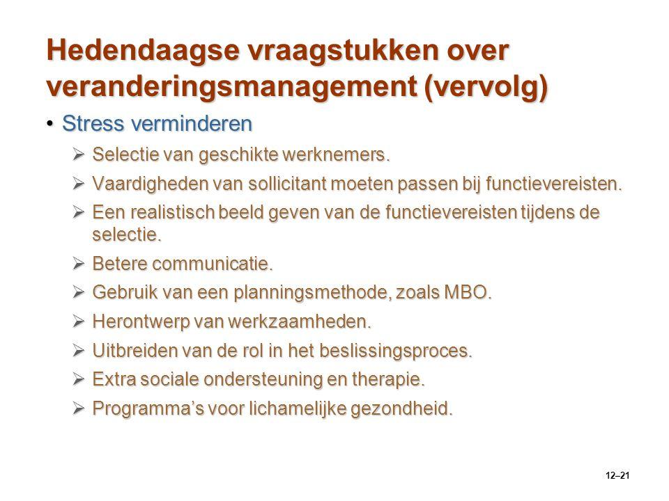 12–21 Hedendaagse vraagstukken over veranderingsmanagement (vervolg) Stress verminderenStress verminderen  Selectie van geschikte werknemers.  Vaard