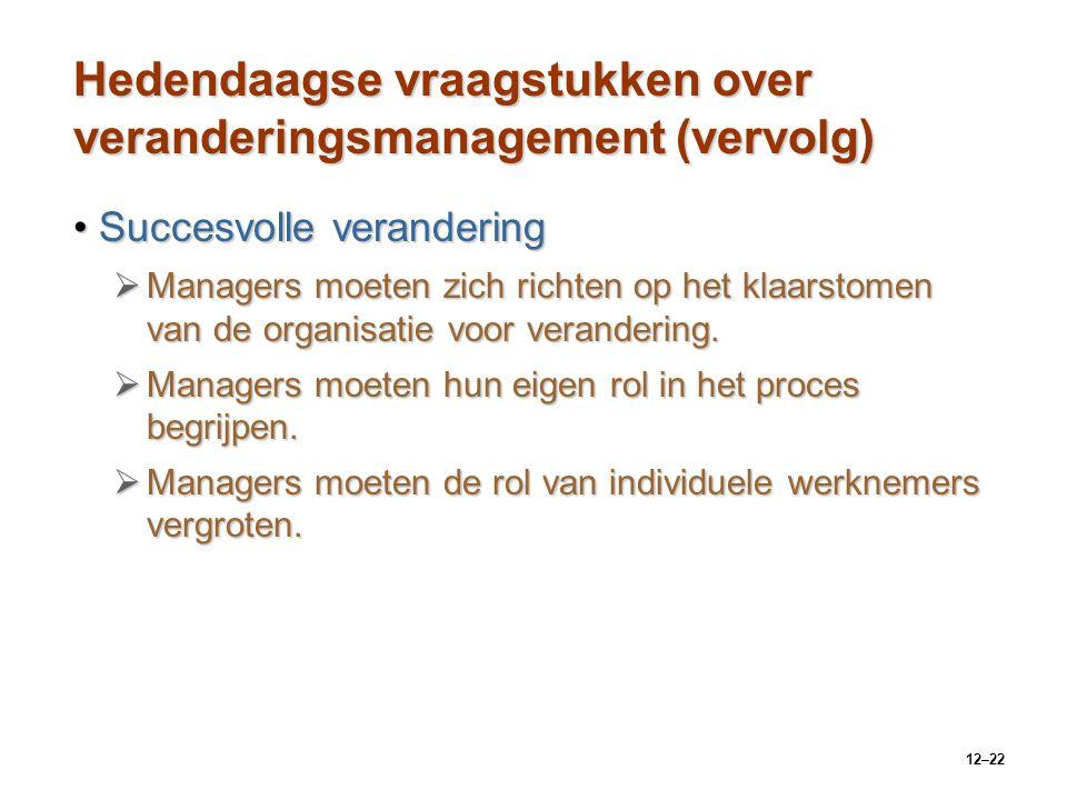 12–22 Hedendaagse vraagstukken over veranderingsmanagement (vervolg) Succesvolle veranderingSuccesvolle verandering  Managers moeten zich richten op