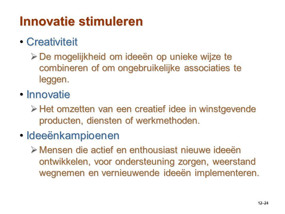 12–24 Innovatie stimuleren CreativiteitCreativiteit  De mogelijkheid om ideeën op unieke wijze te combineren of om ongebruikelijke associaties te leg