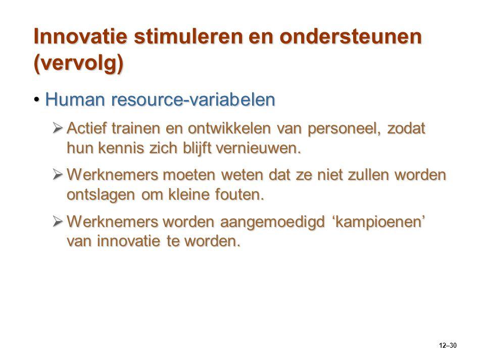 12–30 Innovatie stimuleren en ondersteunen (vervolg) Human resource-variabelenHuman resource-variabelen  Actief trainen en ontwikkelen van personeel,