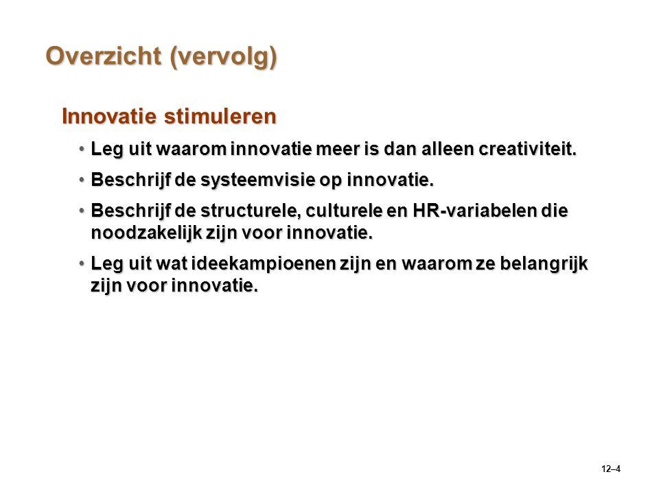 12–4 Overzicht (vervolg) Innovatie stimuleren Leg uit waarom innovatie meer is dan alleen creativiteit.Leg uit waarom innovatie meer is dan alleen cre