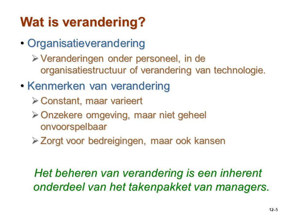 12–5 Wat is verandering? OrganisatieveranderingOrganisatieverandering  Veranderingen onder personeel, in de organisatiestructuur of verandering van t