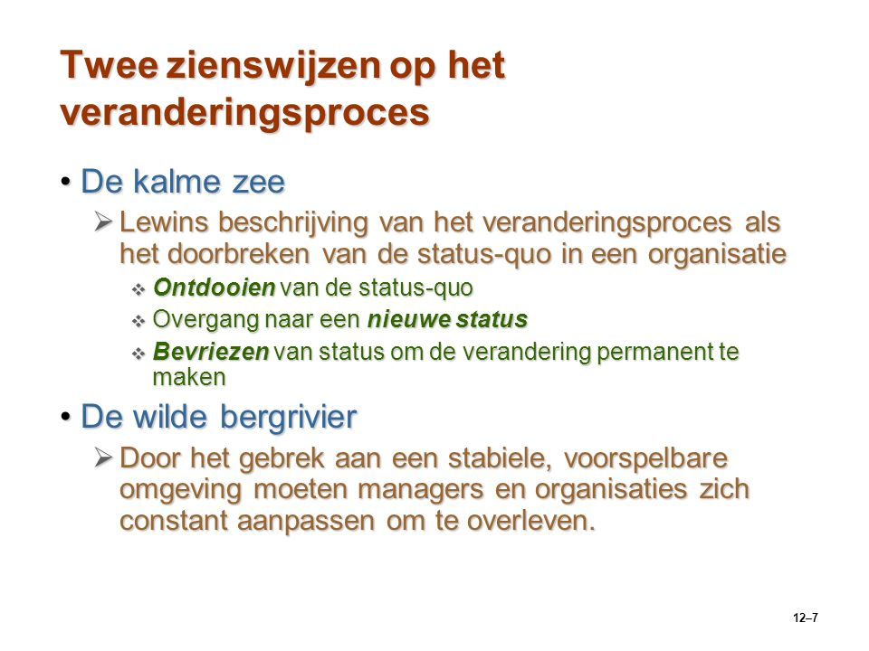 12–7 Twee zienswijzen op het veranderingsproces De kalme zeeDe kalme zee  Lewins beschrijving van het veranderingsproces als het doorbreken van de st