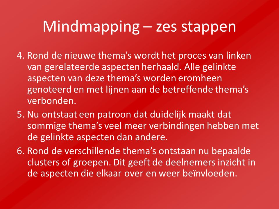 Mindmapping – zes stappen 4. Rond de nieuwe thema's wordt het proces van linken van gerelateerde aspecten herhaald. Alle gelinkte aspecten van deze th