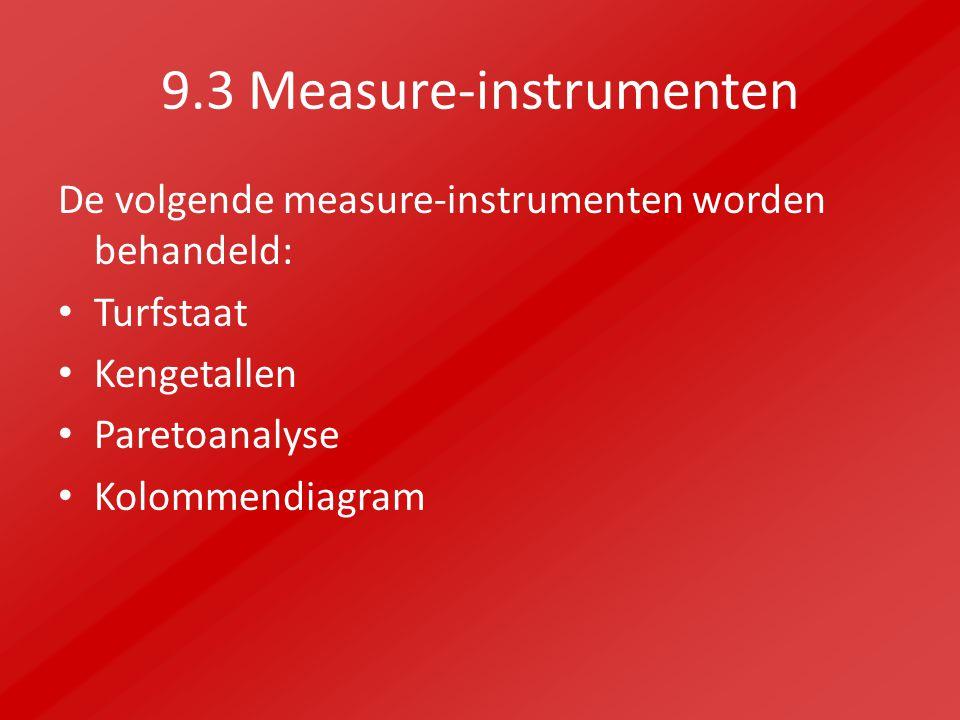 9.3 Measure-instrumenten De volgende measure-instrumenten worden behandeld: Turfstaat Kengetallen Paretoanalyse Kolommendiagram