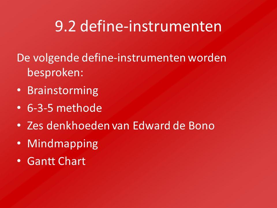 9.2 define-instrumenten De volgende define-instrumenten worden besproken: Brainstorming 6-3-5 methode Zes denkhoeden van Edward de Bono Mindmapping Ga