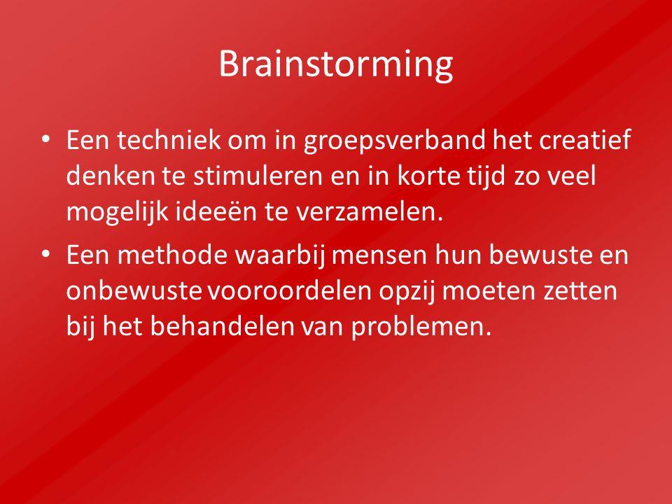 Brainstorming Een techniek om in groepsverband het creatief denken te stimuleren en in korte tijd zo veel mogelijk ideeën te verzamelen. Een methode w