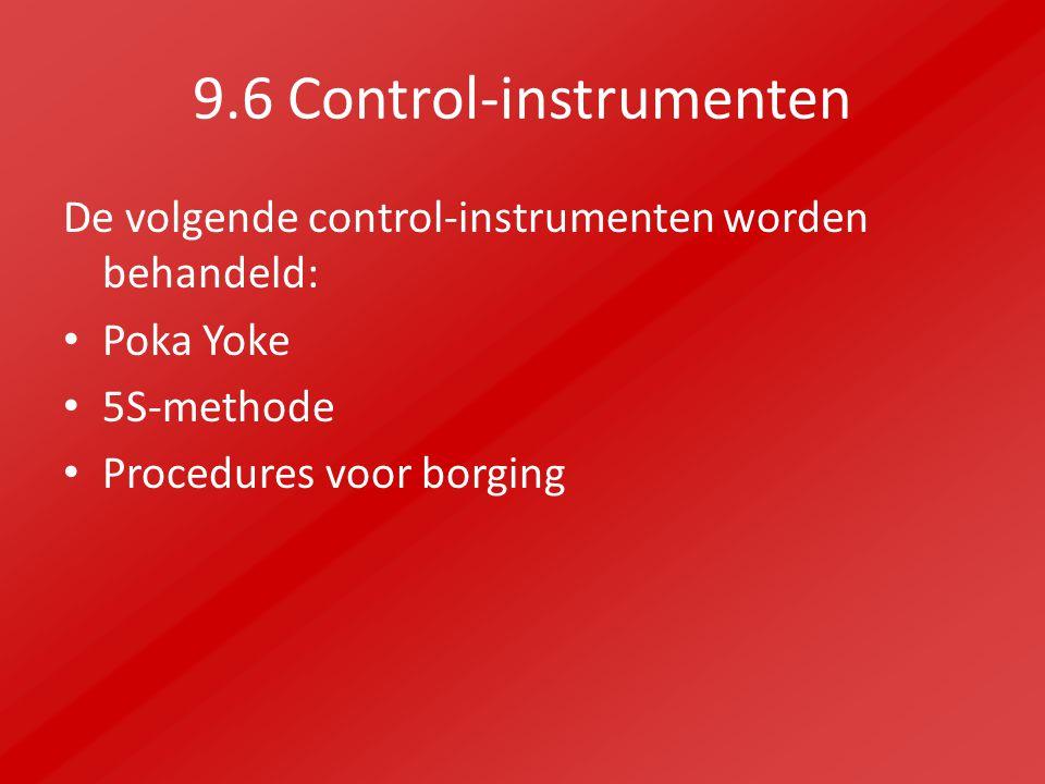9.6 Control-instrumenten De volgende control-instrumenten worden behandeld: Poka Yoke 5S-methode Procedures voor borging