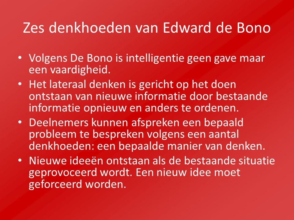 Zes denkhoeden van Edward de Bono Volgens De Bono is intelligentie geen gave maar een vaardigheid. Het lateraal denken is gericht op het doen ontstaan