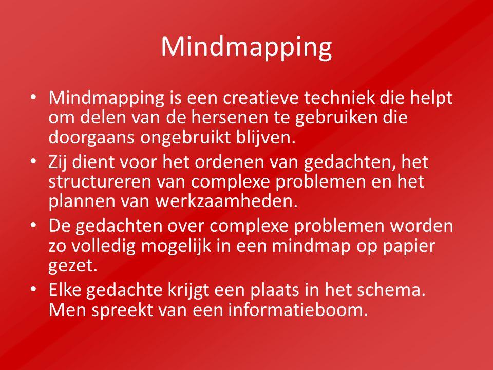 Mindmapping Mindmapping is een creatieve techniek die helpt om delen van de hersenen te gebruiken die doorgaans ongebruikt blijven. Zij dient voor het