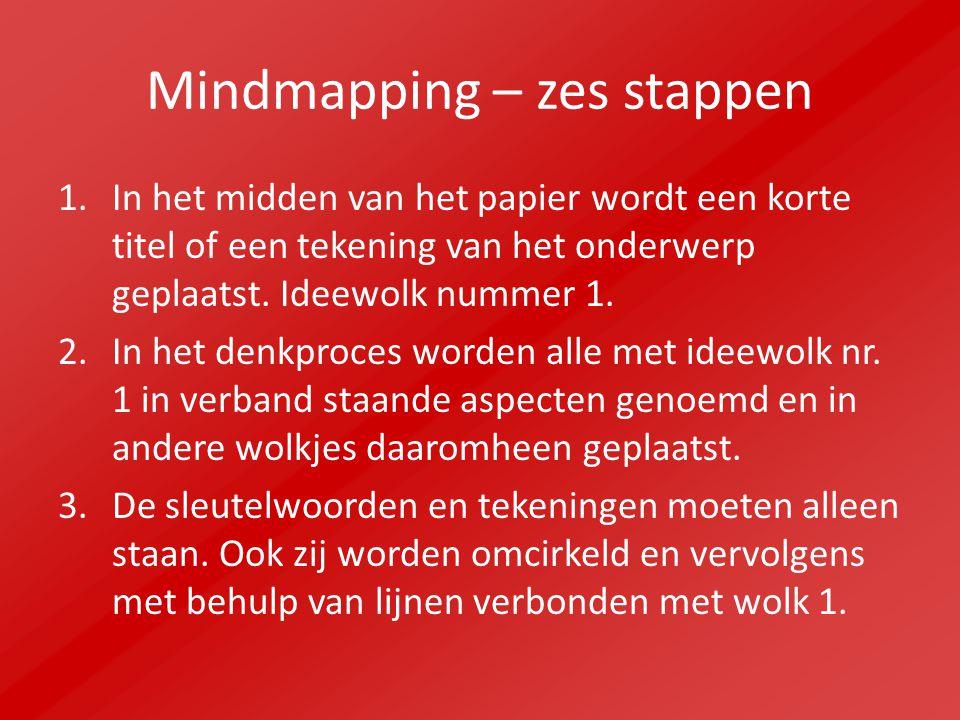 Mindmapping – zes stappen 1.In het midden van het papier wordt een korte titel of een tekening van het onderwerp geplaatst. Ideewolk nummer 1. 2.In he