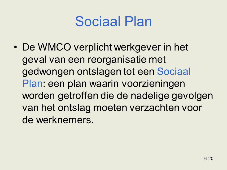 6-20 Sociaal Plan De WMCO verplicht werkgever in het geval van een reorganisatie met gedwongen ontslagen tot een Sociaal Plan: een plan waarin voorzie