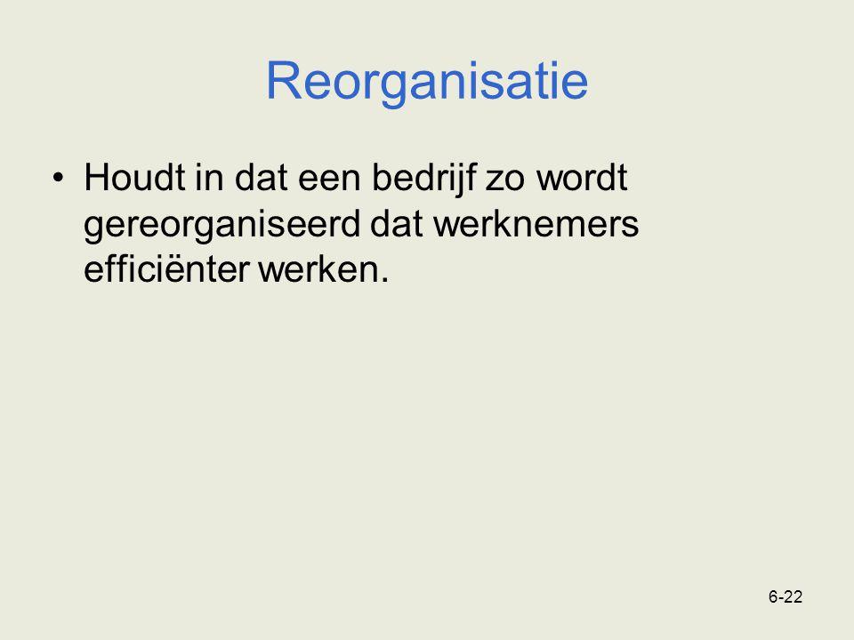 6-22 Reorganisatie Houdt in dat een bedrijf zo wordt gereorganiseerd dat werknemers efficiënter werken.