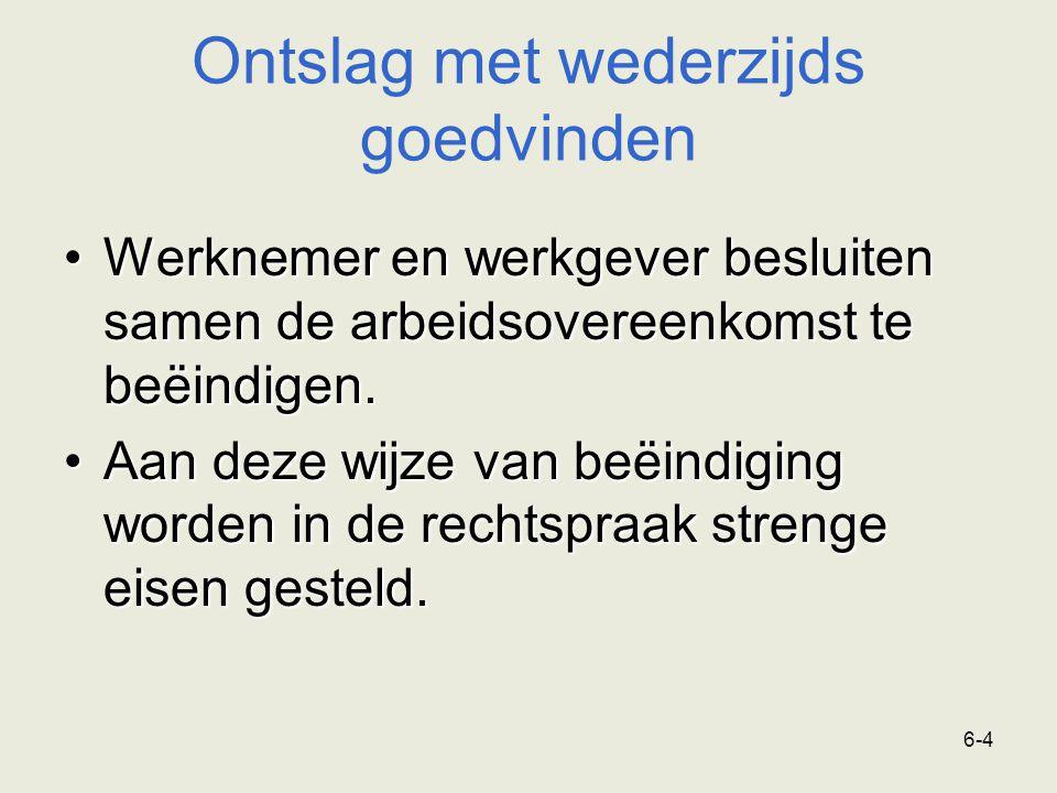 6-15 Ontslag op staande voet Ontslag op staande voet moet voldoen aan strikte eisen omdat ontslagrechtelijke beschermingsbepalingen niet van toepassing zijn en omdat het ontslag ernstige gevolgen heeft voor de werknemer.