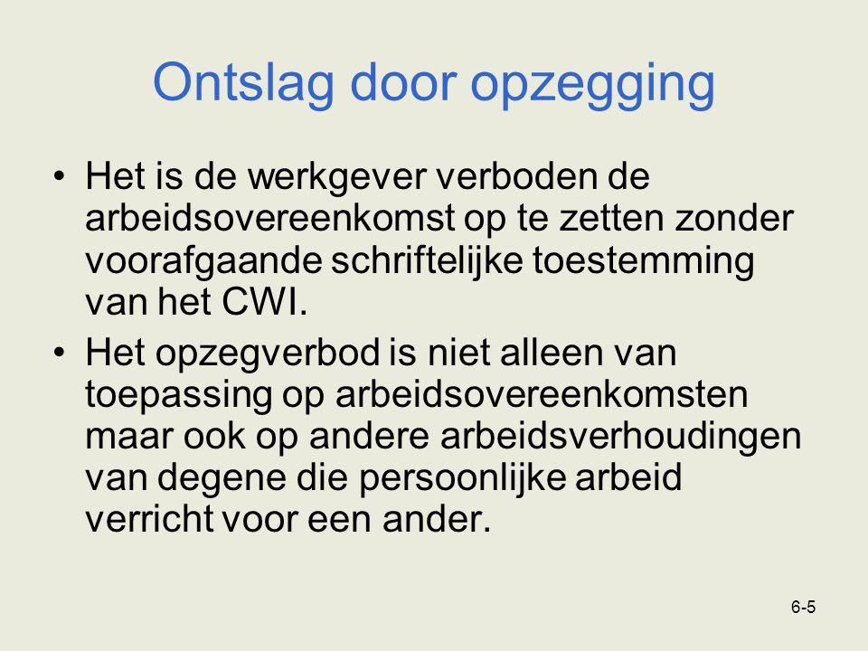 6-5 Het is de werkgever verboden de arbeidsovereenkomst op te zetten zonder voorafgaande schriftelijke toestemming van het CWI. Het opzegverbod is nie