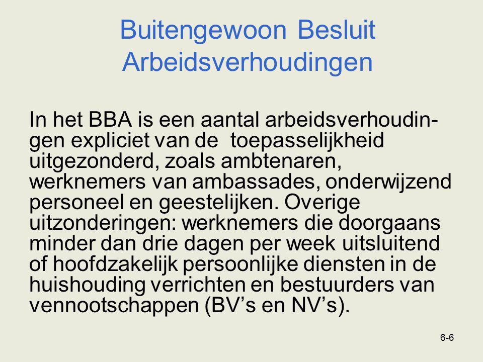 6-7 Buitengewoon Besluit Arbeidsverhoudingen Het BBA geldt niet bij: - opzegging tijdens de proeftijd - faillissement - een (rechtsgeldig) ontslag op staande voet - beëindiging van rechtswege