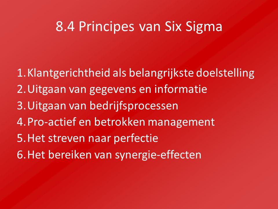 8.4 Principes van Six Sigma 1.Klantgerichtheid als belangrijkste doelstelling 2.Uitgaan van gegevens en informatie 3.Uitgaan van bedrijfsprocessen 4.Pro-actief en betrokken management 5.Het streven naar perfectie 6.Het bereiken van synergie-effecten