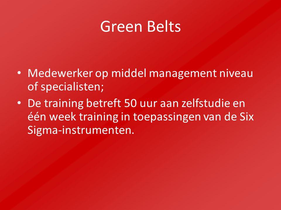 Green Belts Medewerker op middel management niveau of specialisten; De training betreft 50 uur aan zelfstudie en één week training in toepassingen van de Six Sigma-instrumenten.