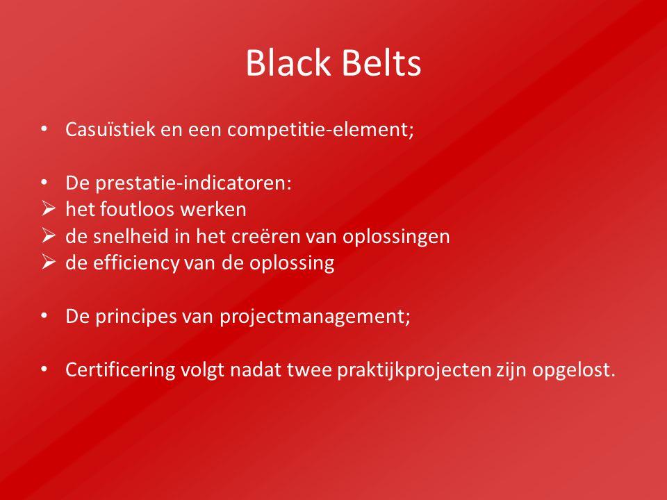 Black Belts Casuïstiek en een competitie-element; De prestatie-indicatoren:  het foutloos werken  de snelheid in het creëren van oplossingen  de efficiency van de oplossing De principes van projectmanagement; Certificering volgt nadat twee praktijkprojecten zijn opgelost.