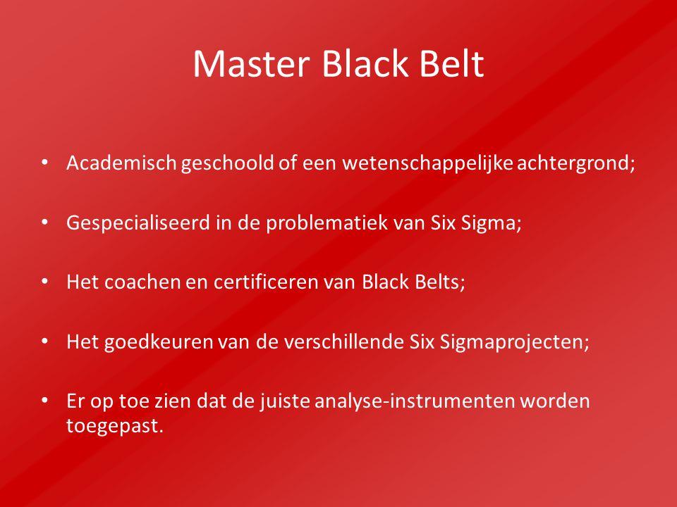 Master Black Belt Academisch geschoold of een wetenschappelijke achtergrond; Gespecialiseerd in de problematiek van Six Sigma; Het coachen en certificeren van Black Belts; Het goedkeuren van de verschillende Six Sigmaprojecten; Er op toe zien dat de juiste analyse-instrumenten worden toegepast.