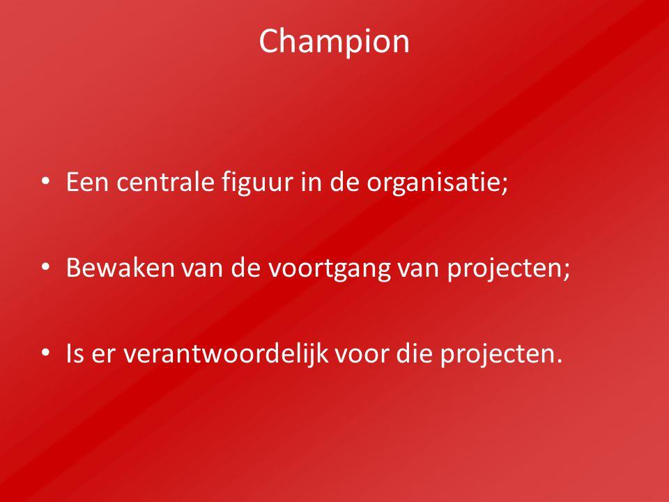 Champion Een centrale figuur in de organisatie; Bewaken van de voortgang van projecten; Is er verantwoordelijk voor die projecten.