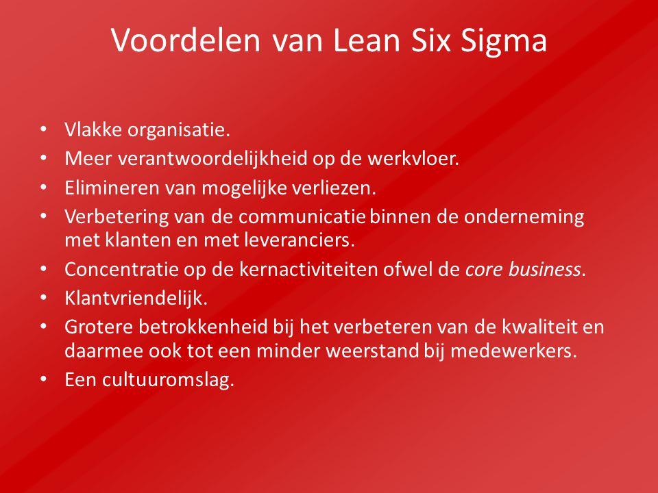Voordelen van Lean Six Sigma Vlakke organisatie. Meer verantwoordelijkheid op de werkvloer. Elimineren van mogelijke verliezen. Verbetering van de com