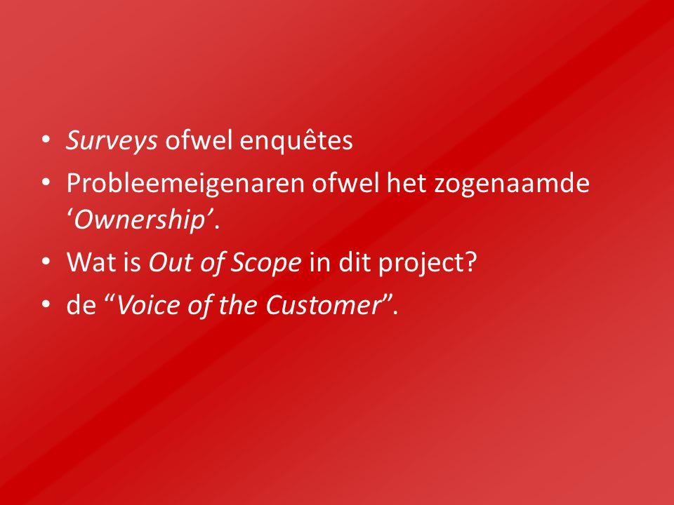 """Surveys ofwel enquêtes Probleemeigenaren ofwel het zogenaamde 'Ownership'. Wat is Out of Scope in dit project? de """"Voice of the Customer""""."""