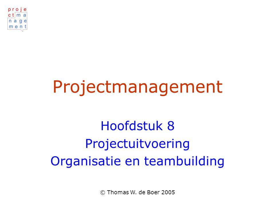 © Thomas W. de Boer 2005 Projectmanagement Hoofdstuk 8 Projectuitvoering Organisatie en teambuilding