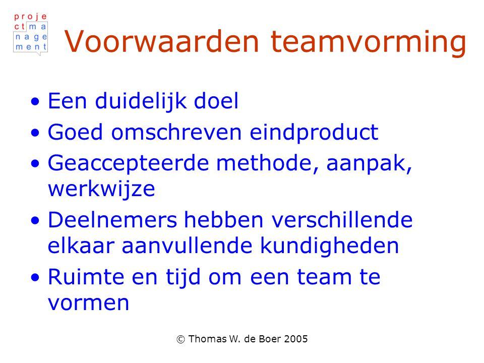 © Thomas W. de Boer 2005 Voorwaarden teamvorming Een duidelijk doel Goed omschreven eindproduct Geaccepteerde methode, aanpak, werkwijze Deelnemers he