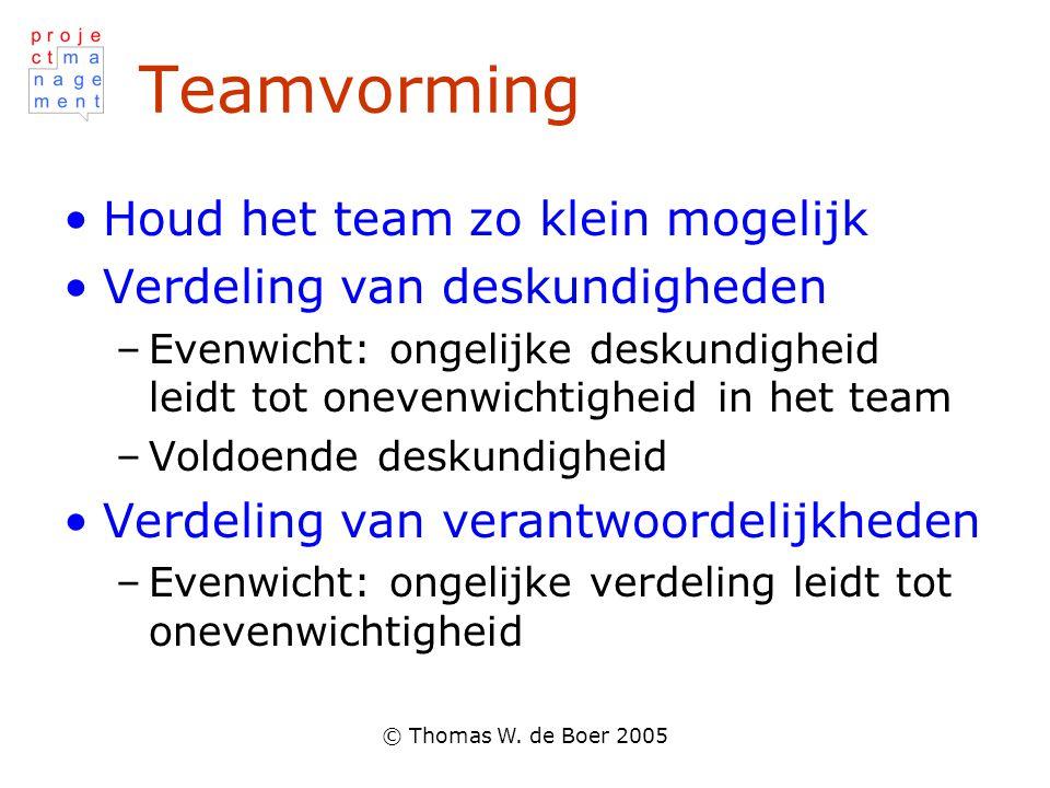© Thomas W. de Boer 2005 Teamvorming Houd het team zo klein mogelijk Verdeling van deskundigheden –Evenwicht: ongelijke deskundigheid leidt tot oneven